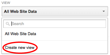 Create a new view in Google Analytics