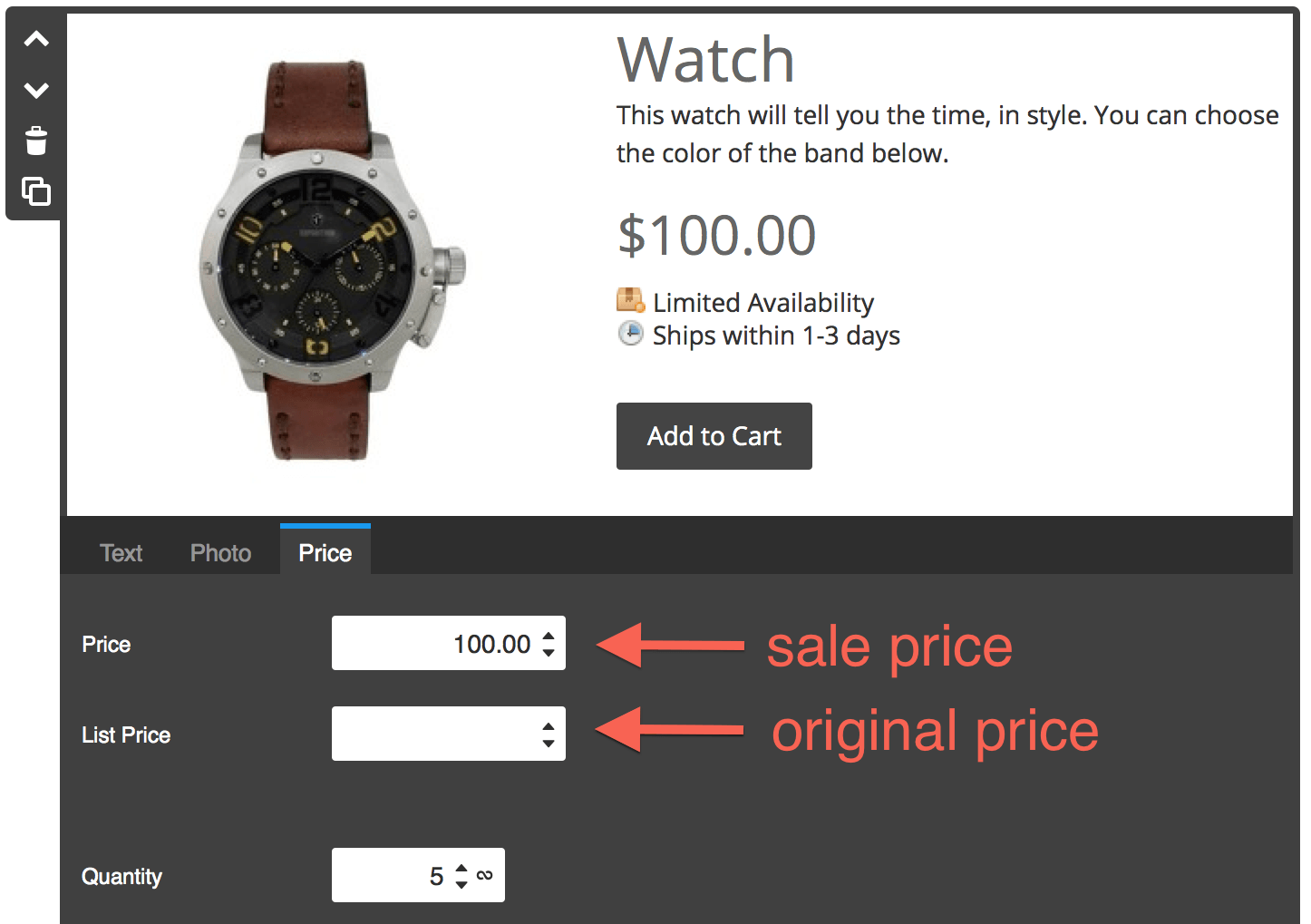 Set the list price and the sale price
