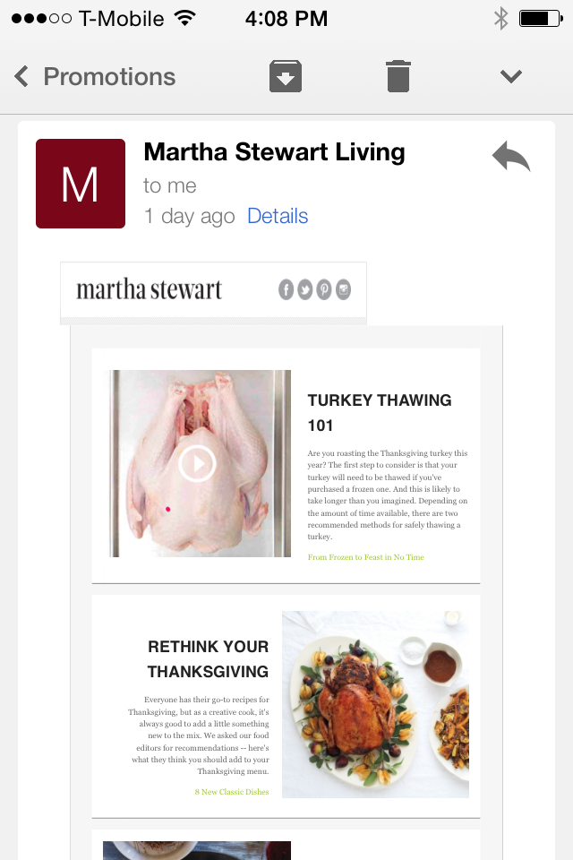 Email example from Martha Stewart Living