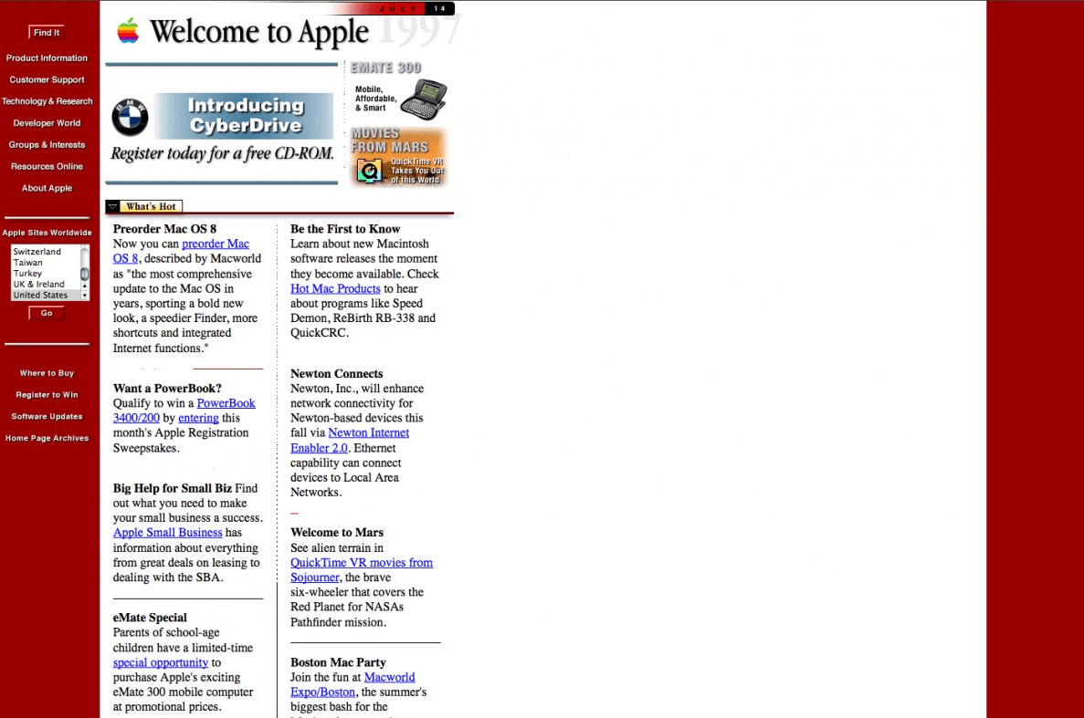 Apple's website from the 90s