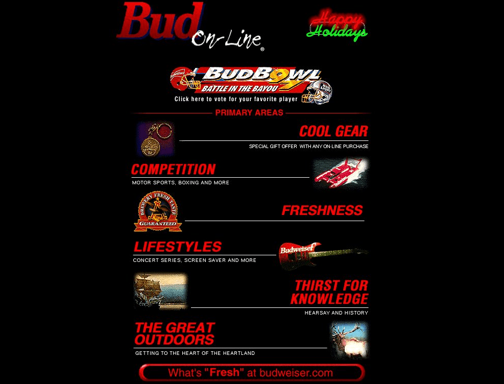 Budweiser's website in the '90s