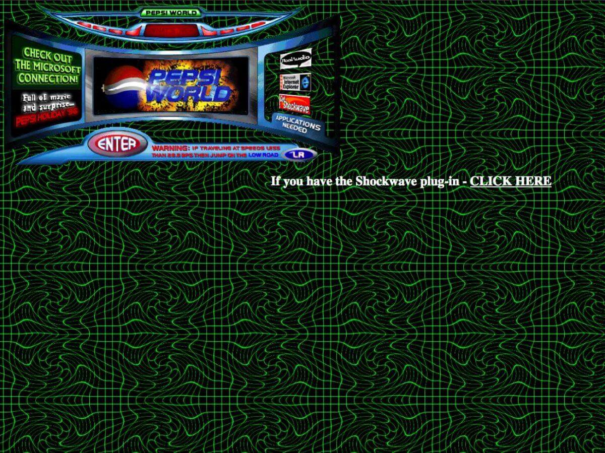 Pepsi's website from 1996
