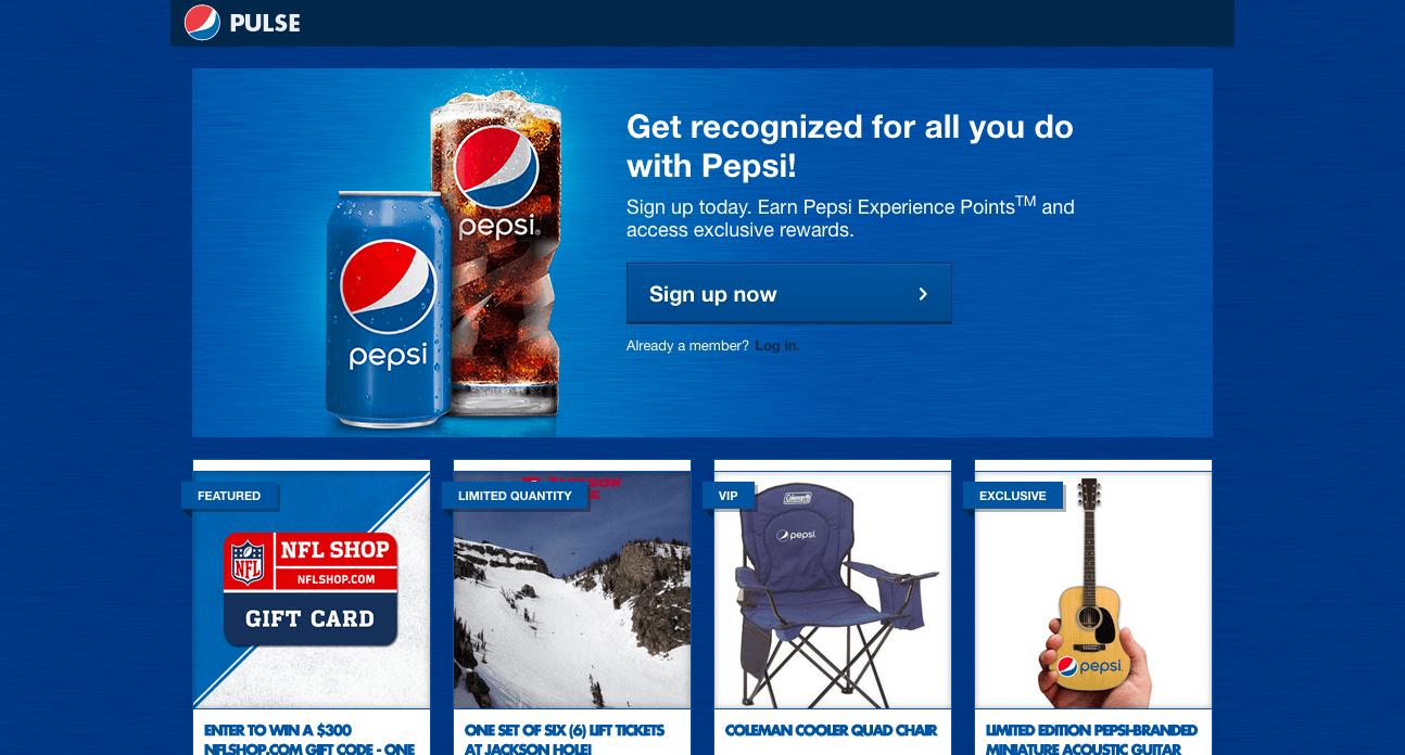 Pepsi's website today