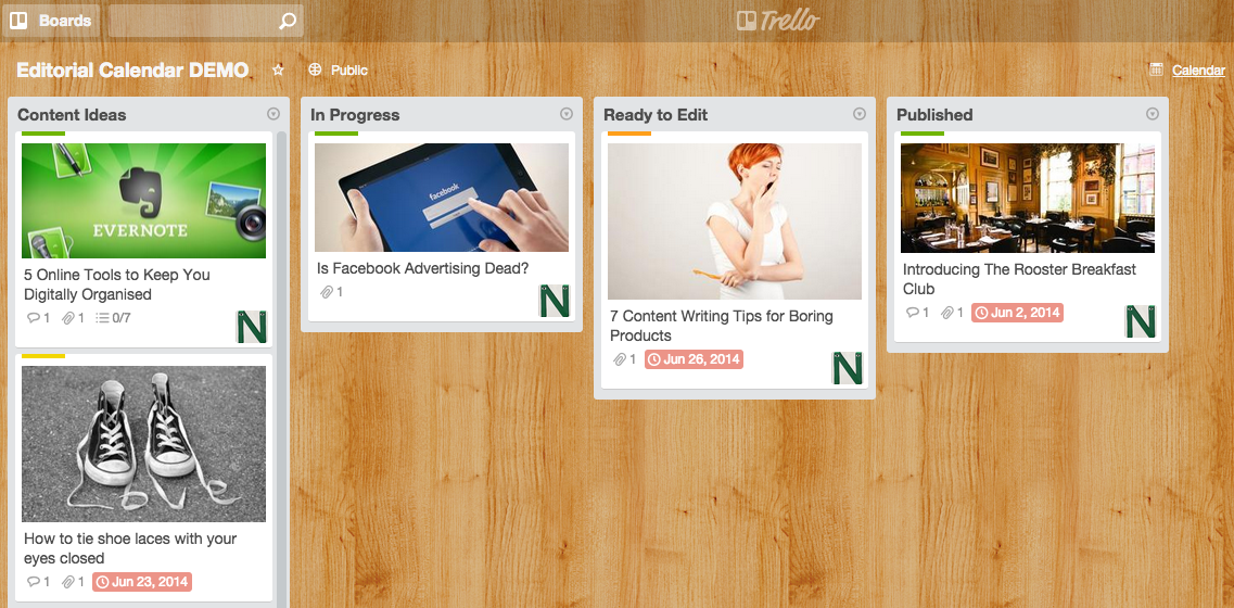 Sample Trello board for editorial calendar