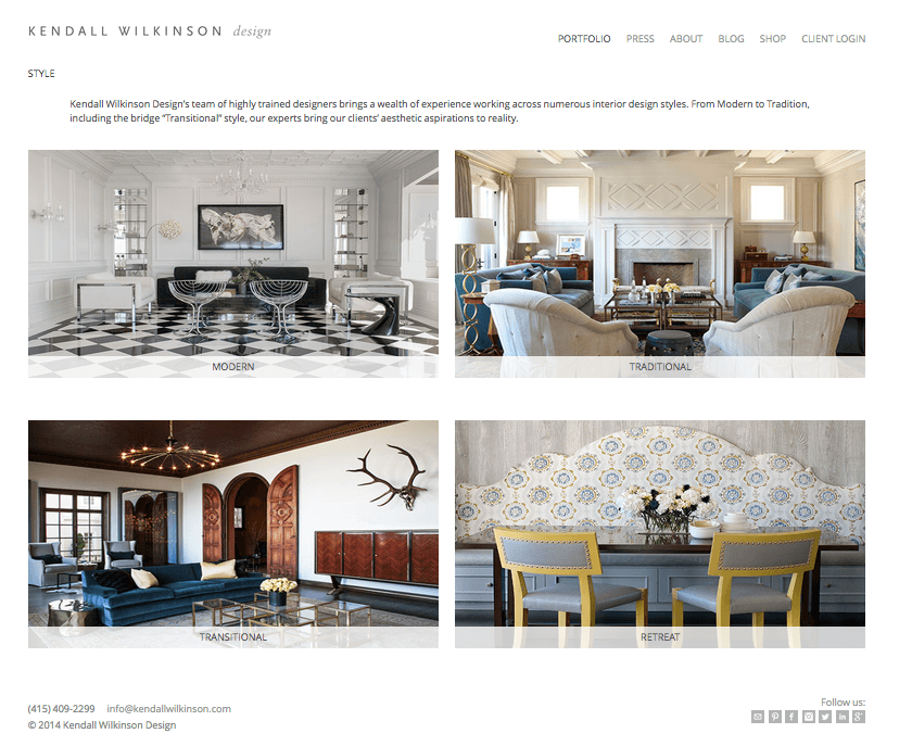 kendall wilkinson interior design website inspiration - Interior Design Portfolio Ideas