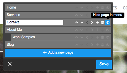 How to hide a page in your navigation