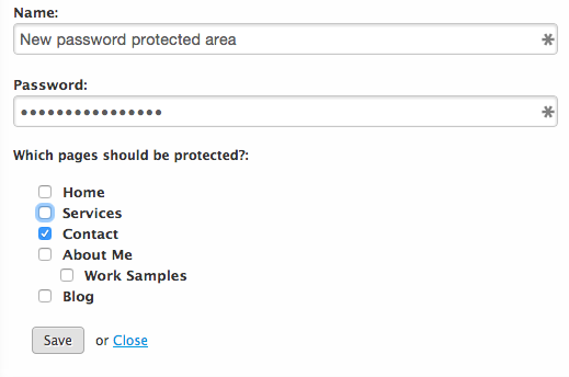 How to set up a password protected area