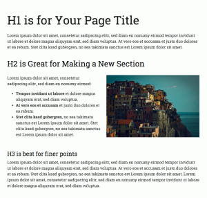 Here's an example of how to use Headings to break up a page and make it easier to read.