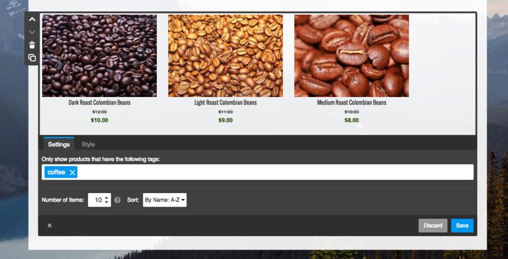 Jimdo Store Catalog element