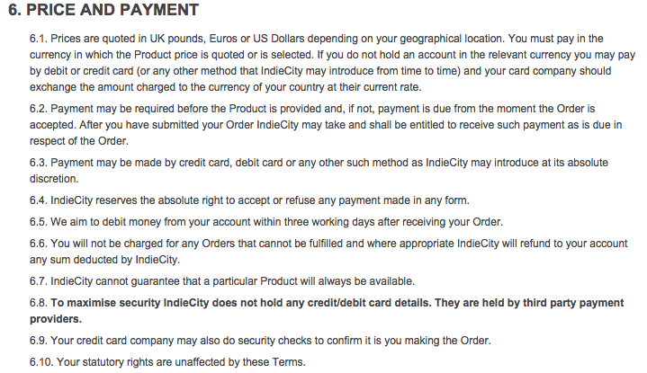 This is an example of a payment details clause