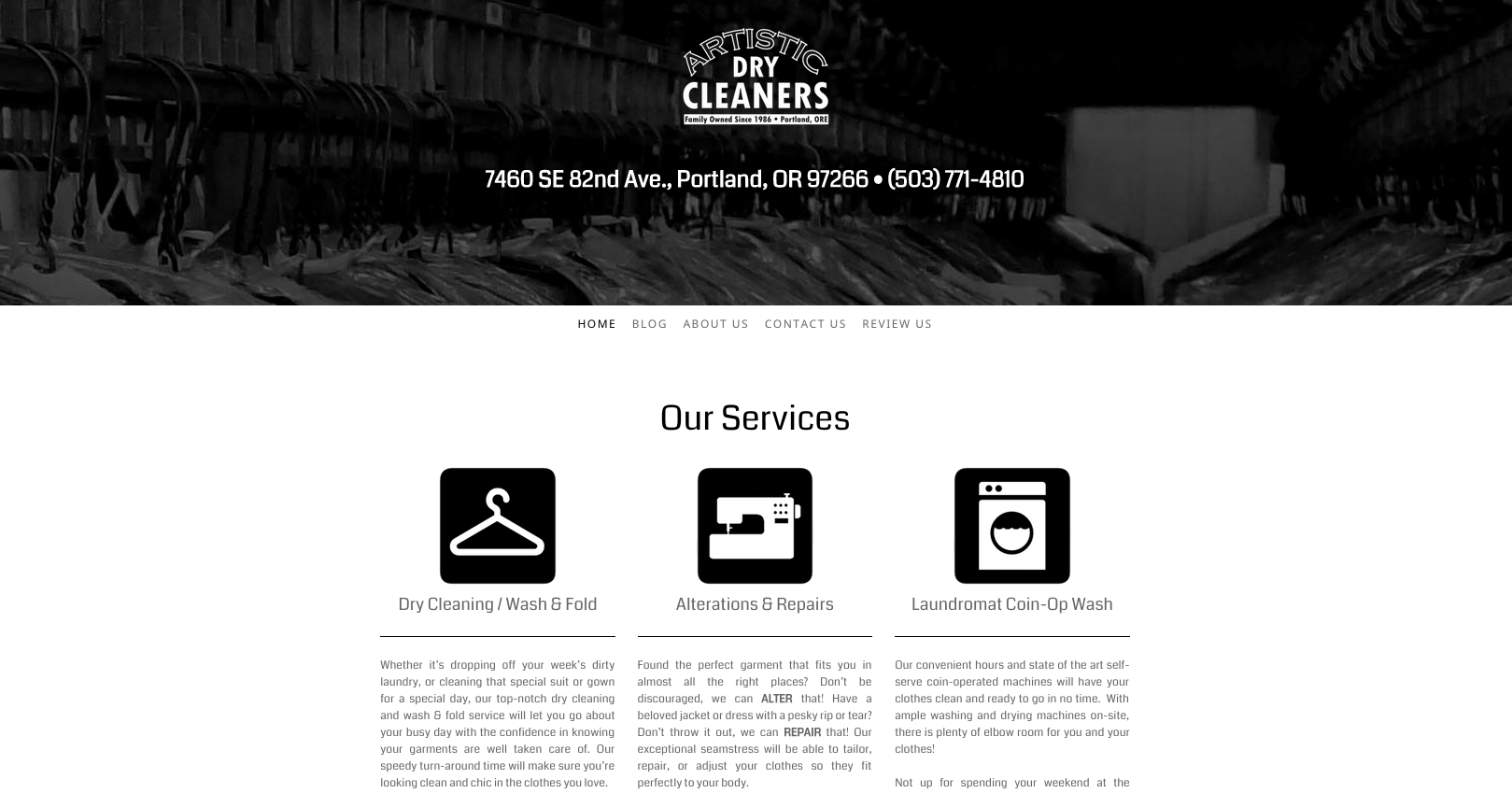 This is an image of the Artisic Dry Cleaning website