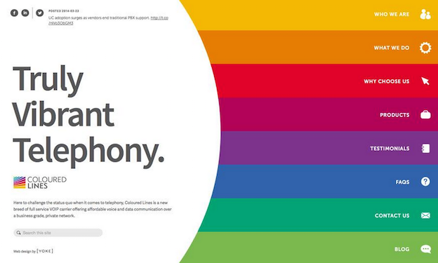 This is an example of a site using a color block