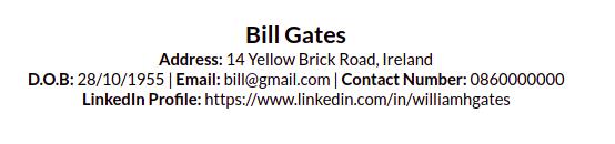 CV Contact Layout
