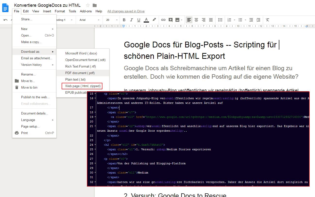 [Google Docs für Blog-Posts -- Wie schönes HTML exportiert werden kann]