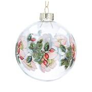 Gisela Graham Glass Ball w Painted Christmas Rose Band (00043)