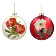 Gisela Graham Glass Ball With Flower Matt Gold/red (00062)