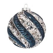 Gisela Graham Textured Spiral Glass Ball Blue/silver (00183)