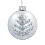 Gisela Graham Glass Ball Matt White w Silver Tree (00377)