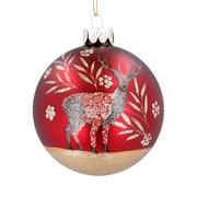 Gisela Graham Xmas Arts & Crafts Stag Glass Ball (00383)