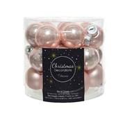 Glass Mini Baublesx24 Enamel-matt Blush Pink 2.5cm (010240)