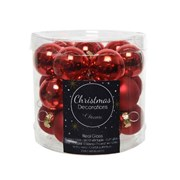 Glass Mini Baublesx24 Enamel-matt Christmas Red 2.5cm (010256)