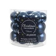 Glass Mini Baublesx24 Shiny Matt Night Blue 2.5cm (010267)