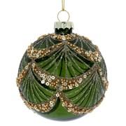 Gisela Graham Green Glass Sequin Ball (01737)
