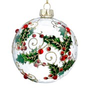 Gisela Graham Clear Glass Ball Diamante/painted Holly (01780)