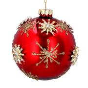 Gisela Graham Glass Ball Red w Gold Raised Stars (01783)