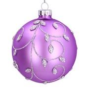 Gisela Graham Matt Lilac Glass Ball W/silver Vine (01846)