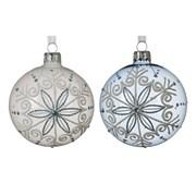 Glass Deco Bauble Snowflake Asstd 8cm (050209)