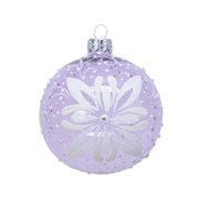 Glass Deco Bauble Curl Flower Frosted Lilac 8cm (050274)