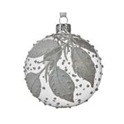 Glass Bauble Glitter Leaves 8cm (05.0285)