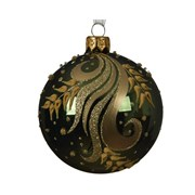 Glass Deco Bauble Curl Branch Pine Green 8cm (050347)