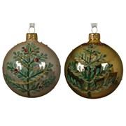Glass Deco Bauble Green Tree Asstd 8cm (050365)
