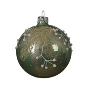 Glass Deco Bauble Branches Sage Green 8cm (050381)