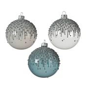 Glass Bauble Shiny Glitter Asstd 8cm (05.0605)