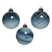 Glass Bauble With Deco Blue 8cm (060624)