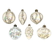 Glass Bauble Ornament w Glitter Deco Iris Asstd (061309)