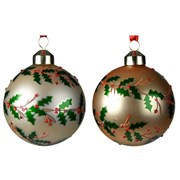 Glass Bauble Holly Branches Asstd 8cm (061758)