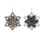 Gisela Graham Glitter/acrylic Snowflake Blue/gold (11751)