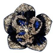 Gisela Graham Blue/gold Sequin Magnolia Clip (11881)