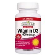 Natures Aid Vitamin D3 1000iu + 33% 120s (129335)