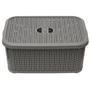 Jvl Loop Rectangle Storage Basket With Lid Grey 6ltr (13-356GY)