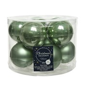 Glass Baubles x10 Sage Green 60mm (140473)