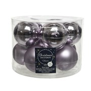 Glass Baubles x10 Frosted Lilac 60mm (140475)