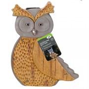Smart Solar Wood Stone In-lit Owl Figurine (1020917)