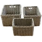 Jvl Superior S/3 Rectangular Willow Baskets (16-333)