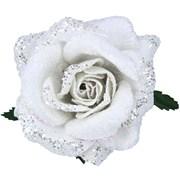 Gisela Graham White Fabric/glitter Rose Clip (16054)