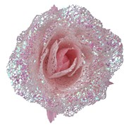 Gisela Graham Pale Pink Acrylic/glitter Rose Clip (16064)